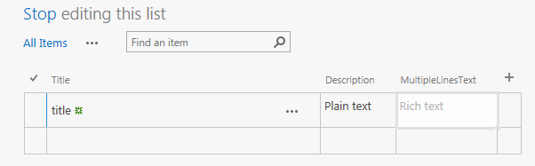 edit multiple lines of text column in edit view