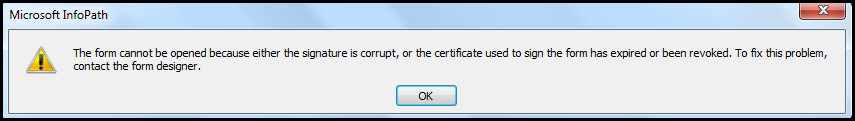 certificate used to sign the form expired or revoked