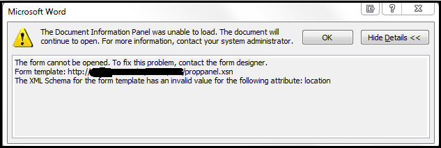 Document Information Panel was unable to load