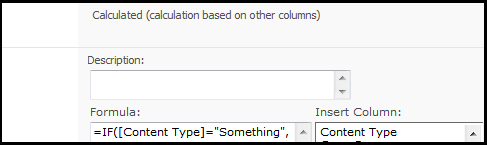 Content Type column not available for Calculated field