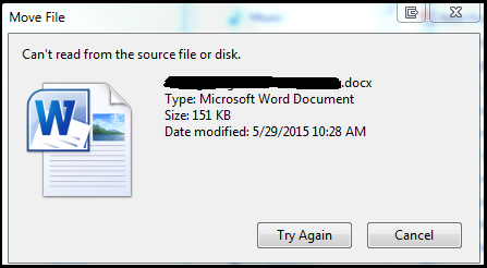 Can't read from the source file or disk error
