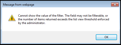 Cannot show the value of the filter