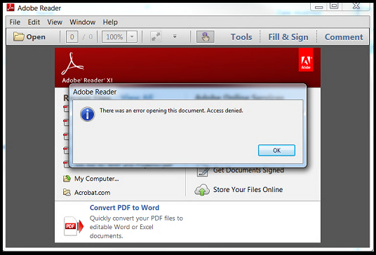 There was an error opening this document. Access denied - Adobe Reader error
