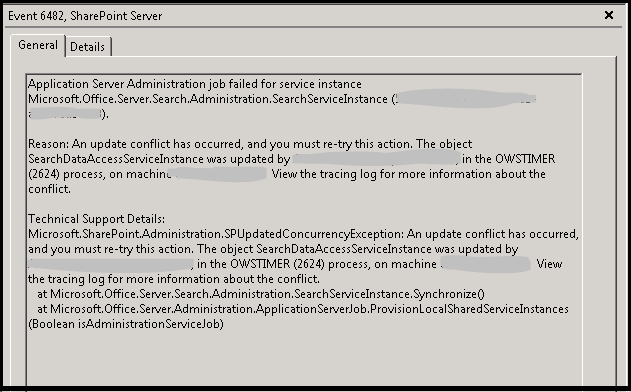 Event 6482 - Application Server Administration job failed for service instance