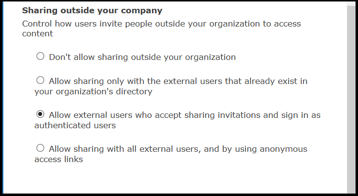 external sharing settings