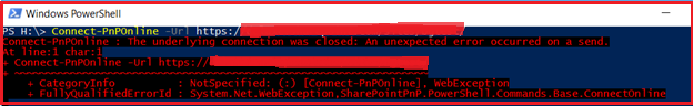 The underlying connection was closed. PnP connection error