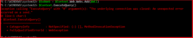 The underlying connection was closed. PowerShell connection error