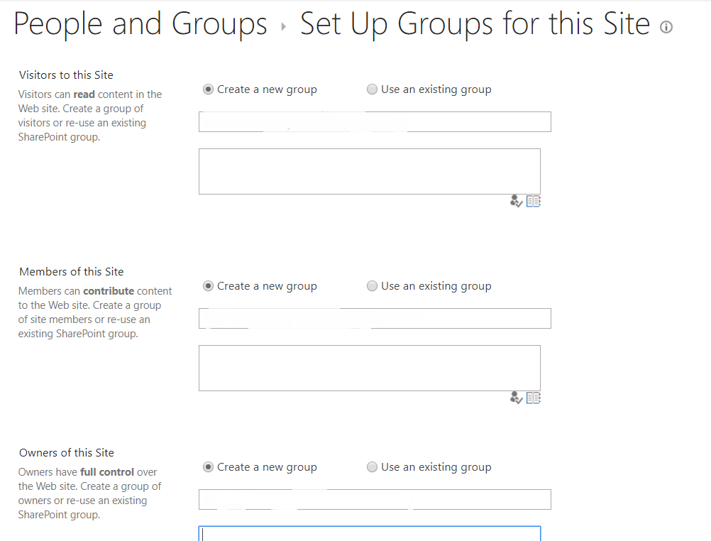 Set default groups