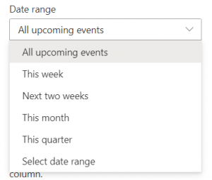 Events date range